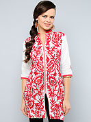 This tunic is nicely designed with floral embroidery work done with resham, zari and patch work. This is perfect casual wear readymade tunics. This drape material is cotton. Bottom shown in the image is just for photography purpose. Slight color variations are possible due to differing screen and photograph resolution.