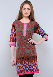 This tunic is nicely designed with abstract, floral print and patch work. This is perfect casual wear readymade tunics. This drape material is cotton. Bottom shown in the image is just for photography purpose. Slight color variations are possible due to differing screen and photograph resolution.