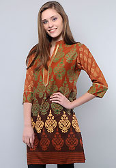 This tunic is nicely designed with block print and patch work. This is perfect casual wear readymade tunics. This drape material is cotton. Bottom shown in the image is just for photography purpose. Slight color variations are possible due to differing screen and photograph resolution.