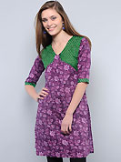 This tunic is nicely designed with floral, big dots print and patch work. This is perfect casual wear readymade tunics. This drape material is cotton. Bottom shown in the image is just for photography purpose. Slight color variations are possible due to differing screen and photograph resolution.