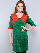 This tunic is nicely designed with floral, abstract print and patch work. This is perfect casual wear readymade tunics. This drape material is cotton. Bottom shown in the image is just for photography purpose. Slight color variations are possible due to differing screen and photograph resolution.