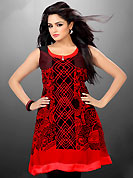 Attract all attentions with this embroidered kurti. This beautiful designer red and black georgette readymade tunic have amazing floral, abstract, geometric print and thread work. The entire ensemble makes an excellent wear. This is a perfect patry wear readymade kurti. Bottom and accessories shown in the image is just for photography purpose. Slight Color variations are possible due to differing screen and photograph resolutions.