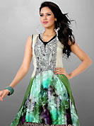 Exquisite combination of color, fabric can be seen here. This beautiful designer off white and green cotton readymade tunic have amazing floral, abstract print and embroidery patch work is done with resham thread work. The entire ensemble makes an excellent wear. This is a perfect patry wear readymade kurti. Bottom and accessories shown in the image is just for photography purpose. Slight Color variations are possible due to differing screen and photograph resolutions.