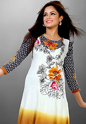 Welcome to the new era of Indian fashion wear. This beautiful designer white, shaded mustard and black cotton readymade tunic have amazing flower, abstract print and embroidery patch work is done with resham thread and lace work. The entire ensemble makes an excellent wear. This is a perfect patry wear readymade kurti. Bottom and accessories shown in the image is just for photography purpose. Slight Color variations are possible due to differing screen and photograph resolutions.