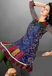 This season dazzle and shine in pure colors. This beautiful designer dark blue cotton readymade tunic have amazing floral, paisley print and embroidery patch work is done with resham and lace work. The entire ensemble makes an excellent wear. This is a perfect patry wear readymade kurti. Bottom and accessories shown in the image is just for photography purpose. Slight Color variations are possible due to differing screen and photograph resolutions.