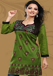 This simple and pretty kurti has beautiful block print and embroidery patch work is done with resham work. This drape material is crepe silk. The entire ensemble makes an excellent wear. This is a perfect casual wear readymade kurti. Bottom shown in the image is just for photography purpose. Minimum quantity order 12pcs in each style. Slight Color variations are possible due to differing screen and photograph resolutions.