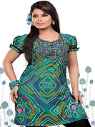 This teal green american crepe readymade tunic is nicely designed with bandhej print and patch work. This is a perfect casual wear readymade kurti. Bottom shown in the image is just for photography purpose. Minimum quantity order 12pcs in each style. Slight Color variations are possible due to differing screen and photograph resolutions.
