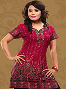 This deep pink american crepe readymade tunic is nicely designed with abstract print work. This is a perfect casual wear readymade kurti. Bottom shown in the image is just for photography purpose. Minimum quantity order 12pcs in each style. Slight Color variations are possible due to differing screen and photograph resolutions.