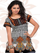 This off white and orange american crepe readymade tunic is nicely designed with floral, paisley, abstract print and patch work. This is a perfect casual wear readymade kurti. Bottom shown in the image is just for photography purpose. Minimum quantity order 12pcs in each style. Slight Color variations are possible due to differing screen and photograph resolutions.