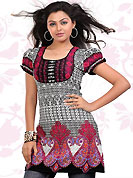 This off white and dark pink american crepe readymade tunic is nicely designed with floral, paisley, abstract print and patch work. This is a perfect casual wear readymade kurti. Bottom shown in the image is just for photography purpose. Minimum quantity order 12pcs in each style. Slight Color variations are possible due to differing screen and photograph resolutions.