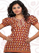This mustard and maroon american crepe readymade tunic is nicely designed with paisley print and patch work. This is a perfect casual wear readymade kurti. Bottom shown in the image is just for photography purpose. Minimum quantity order 12pcs in each style. Slight Color variations are possible due to differing screen and photograph resolutions.