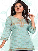 This light blue american crepe readymade tunic is nicely designed with floral print and patch work. This is a perfect casual wear readymade kurti. Bottom shown in the image is just for photography purpose. Minimum quantity order 12pcs in each style. Slight Color variations are possible due to differing screen and photograph resolutions.