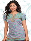This light purple and sea green american crepe readymade tunic is nicely designed with floral print and patch work. This is a perfect casual wear readymade kurti. Bottom shown in the image is just for photography purpose. Minimum quantity order 12pcs in each style. Slight Color variations are possible due to differing screen and photograph resolutions.