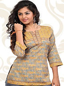 This light grey and yellow american crepe readymade tunic is nicely designed with floral print and patch work. This is a perfect casual wear readymade kurti. Bottom shown in the image is just for photography purpose. Minimum quantity order 12pcs in each style. Slight Color variations are possible due to differing screen and photograph resolutions.