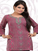 This pink american crepe readymade tunic is nicely designed with floral print work. This is a perfect casual wear readymade kurti. Bottom shown in the image is just for photography purpose. Minimum quantity order 12pcs in each style. Slight Color variations are possible due to differing screen and photograph resolutions.