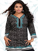 This black, off white and turquoise blue american crepe readymade tunic is nicely designed with floral print work. This is a perfect casual wear readymade kurti. Bottom shown in the image is just for photography purpose. Minimum quantity order 12pcs in each style. Slight Color variations are possible due to differing screen and photograph resolutions.