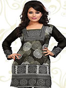This dark olive green, black and off white american crepe readymade tunic is nicely designed with abstract and geometric print work. This is a perfect casual wear readymade kurti. Bottom shown in the image is just for photography purpose. Minimum quantity order 12pcs in each style. Slight Color variations are possible due to differing screen and photograph resolutions.