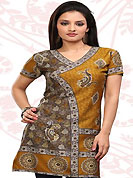 This mustard and grey american crepe readymade tunic is nicely designed with floral, paisley and abstract print work. This is a perfect casual wear readymade kurti. Bottom shown in the image is just for photography purpose. Minimum quantity order 12pcs in each style. Slight Color variations are possible due to differing screen and photograph resolutions.