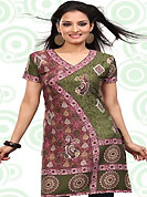 This green and pink american crepe readymade tunic is nicely designed with floral, paisley and abstract print work. This is a perfect casual wear readymade kurti. Bottom shown in the image is just for photography purpose. Minimum quantity order 12pcs in each style. Slight Color variations are possible due to differing screen and photograph resolutions.