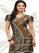 This dark mustard and grey american crepe readymade tunic is nicely designed with floral, paisley and abstract print work. This is a perfect casual wear readymade kurti. Bottom shown in the image is just for photography purpose. Minimum quantity order 12pcs in each style. Slight Color variations are possible due to differing screen and photograph resolutions.