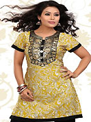 This yellow american crepe readymade tunic is nicely designed with floral print and patch work. This is a perfect casual wear readymade kurti. Bottom shown in the image is just for photography purpose. Minimum quantity order 12pcs in each style. Slight Color variations are possible due to differing screen and photograph resolutions.
