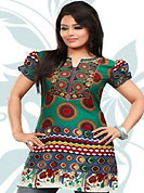 This green and grey american crepe readymade tunic is nicely designed with geometric and abstract print work. This is a perfect casual wear readymade kurti. Bottom shown in the image is just for photography purpose. Minimum quantity order 12pcs in each style. Slight Color variations are possible due to differing screen and photograph resolutions.