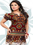This maroon american crepe readymade tunic is nicely designed with geometric and abstract print work. This is a perfect casual wear readymade kurti. Bottom shown in the image is just for photography purpose. Minimum quantity order 12pcs in each style. Slight Color variations are possible due to differing screen and photograph resolutions.