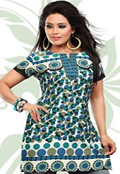 This off white and turquoise american crepe readymade tunic is nicely designed with geometric print work. This is a perfect casual wear readymade kurti. Bottom shown in the image is just for photography purpose. Minimum quantity order 12pcs in each style. Slight Color variations are possible due to differing screen and photograph resolutions.