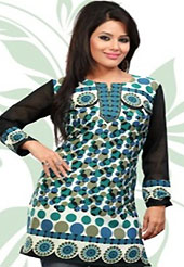 This off white, turquoise and black american crepe readymade tunic is nicely designed with geometric print work. This is a perfect casual wear readymade kurti. Bottom shown in the image is just for photography purpose. Minimum quantity order 12pcs in each style. Slight Color variations are possible due to differing screen and photograph resolutions.