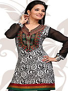 This off white and black american crepe readymade tunic is nicely designed with floral print and patch work. This is a perfect casual wear readymade kurti. Bottom shown in the image is just for photography purpose. Minimum quantity order 12pcs in each style. Slight Color variations are possible due to differing screen and photograph resolutions.