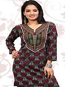This grey and deep pink american crepe readymade tunic is nicely designed with floral print and patch work. This is a perfect casual wear readymade kurti. Bottom shown in the image is just for photography purpose. Minimum quantity order 12pcs in each style. Slight Color variations are possible due to differing screen and photograph resolutions.