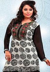 This off white and black american crepe readymade tunic is nicely designed with abstract print and patch work. This is a perfect casual wear readymade kurti. Bottom shown in the image is just for photography purpose. Minimum quantity order 12pcs in each style. Slight Color variations are possible due to differing screen and photograph resolutions.