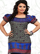 This dark grey and blue american crepe readymade tunic is nicely designed with floral and abstract print work. This is a perfect casual wear readymade kurti. Bottom shown in the image is just for photography purpose. Minimum quantity order 12pcs in each style. Slight Color variations are possible due to differing screen and photograph resolutions.