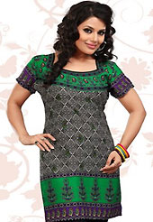 This dark grey and green american crepe readymade tunic is nicely designed with floral and abstract print work. This is a perfect casual wear readymade kurti. Bottom shown in the image is just for photography purpose. Minimum quantity order 12pcs in each style. Slight Color variations are possible due to differing screen and photograph resolutions.
