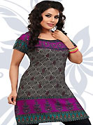 This dark grey and magenta american crepe readymade tunic is nicely designed with floral and abstract print work. This is a perfect casual wear readymade kurti. Bottom shown in the image is just for photography purpose. Minimum quantity order 12pcs in each style. Slight Color variations are possible due to differing screen and photograph resolutions.