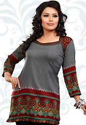 This grey and maroon american crepe readymade tunic is nicely designed with geometric and abstract print work. This is a perfect casual wear readymade kurti. Bottom shown in the image is just for photography purpose. Minimum quantity order 12pcs in each style. Slight Color variations are possible due to differing screen and photograph resolutions.