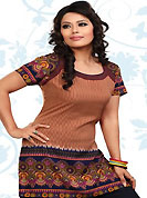 This light brown and dark navy blue american crepe readymade tunic is nicely designed with geometric and abstract print work. This is a perfect casual wear readymade kurti. Bottom shown in the image is just for photography purpose. Minimum quantity order 12pcs in each style. Slight Color variations are possible due to differing screen and photograph resolutions.