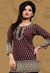This dark burgundy american crepe readymade tunic is nicely designed with abstract print work. This is a perfect casual wear readymade kurti. Bottom shown in the image is just for photography purpose. Minimum quantity order 12pcs in each style. Slight Color variations are possible due to differing screen and photograph resolutions.