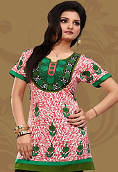 This off white and light red american crepe readymade tunic is nicely designed with floral, abstract print and patch work. This is a perfect casual wear readymade kurti. Bottom shown in the image is just for photography purpose. Minimum quantity order 12pcs in each style. Slight Color variations are possible due to differing screen and photograph resolutions.