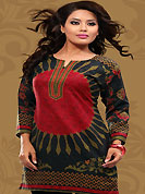This black and red cotton readymade tunic is nicely designed with floral and abstract print work. This is a perfect casual wear readymade kurti. Bottom shown in the image is just for photography purpose. Minimum quantity order 12pcs in each style. Slight Color variations are possible due to differing screen and photograph resolutions.