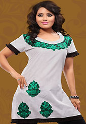 This white cotton readymade tunic is nicely designed with dot print and resham embroidery patch work. This is a perfect casual wear readymade kurti. Bottom shown in the image is just for photography purpose. Minimum quantity order 12pcs in each style. Slight Color variations are possible due to differing screen and photograph resolutions.