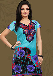 This light blue and black cotton readymade tunic is nicely designed with floral, paisley, geometric print and resham embroidery patch work. This is a perfect casual wear readymade kurti. Bottom shown in the image is just for photography purpose. Minimum quantity order 12pcs in each style. Slight Color variations are possible due to differing screen and photograph resolutions.