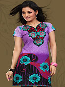 This purple and black cotton readymade tunic is nicely designed with floral, paisley, geometric print and resham embroidery patch work. This is a perfect casual wear readymade kurti. Bottom shown in the image is just for photography purpose. Minimum quantity order 12pcs in each style. Slight Color variations are possible due to differing screen and photograph resolutions.