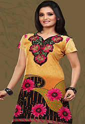 This dark yellow and black cotton readymade tunic is nicely designed with floral, paisley, geometric print and resham embroidery patch work. This is a perfect casual wear readymade kurti. Bottom shown in the image is just for photography purpose. Minimum quantity order 12pcs in each style. Slight Color variations are possible due to differing screen and photograph resolutions.