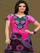 This pink and black cotton readymade tunic is nicely designed with floral, paisley, geometric print and resham embroidery patch work. This is a perfect casual wear readymade kurti. Bottom shown in the image is just for photography purpose. Minimum quantity order 12pcs in each style. Slight Color variations are possible due to differing screen and photograph resolutions.