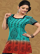 This sea green and red cotton readymade tunic is nicely designed with floral, paisley print and patch work. This is a perfect casual wear readymade kurti. Bottom shown in the image is just for photography purpose. Minimum quantity order 12pcs in each style. Slight Color variations are possible due to differing screen and photograph resolutions.