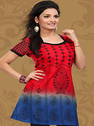 This red and blue cotton readymade tunic is nicely designed with floral, paisley print and patch work. This is a perfect casual wear readymade kurti. Bottom shown in the image is just for photography purpose. Minimum quantity order 12pcs in each style. Slight Color variations are possible due to differing screen and photograph resolutions.