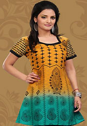 This dark yellow and turquoise green cotton readymade tunic is nicely designed with floral, paisley print and patch work. This is a perfect casual wear readymade kurti. Bottom shown in the image is just for photography purpose. Minimum quantity order 12pcs in each style. Slight Color variations are possible due to differing screen and photograph resolutions.