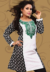 This white and black cotton readymade tunic is nicely designed with floral, dot print and resham embroidery patch work. This is a perfect casual wear readymade kurti. Bottom shown in the image is just for photography purpose. Minimum quantity order 12pcs in each style. Slight Color variations are possible due to differing screen and photograph resolutions.