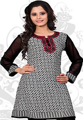 This black and white american crepe readymade tunic is nicely designed with geometric print and resham embroidery patch work. This is a perfect casual wear readymade kurti. Bottom shown in the image is just for photography purpose. Minimum quantity order 12pcs in each style. Slight Color variations are possible due to differing screen and photograph resolutions.